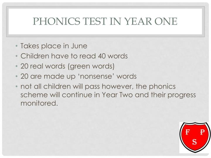 Phonics test in Year One