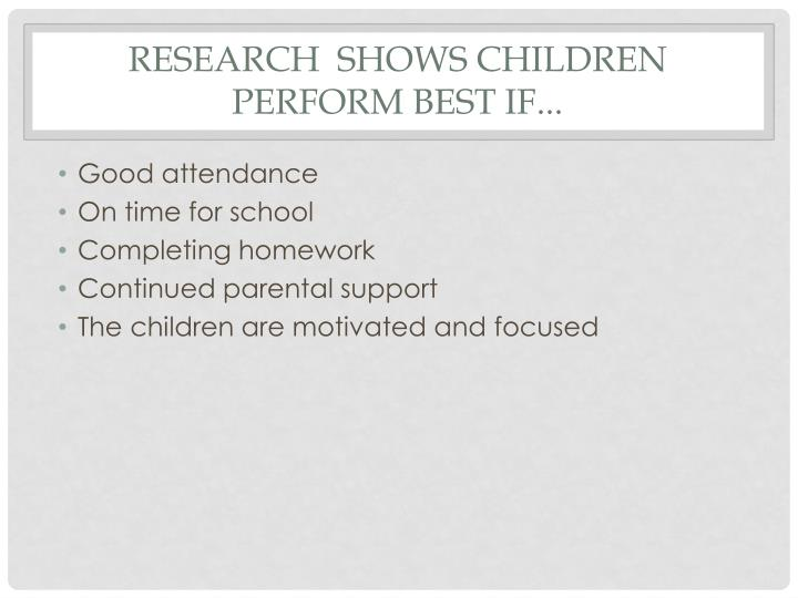 research  shows children perform best if...