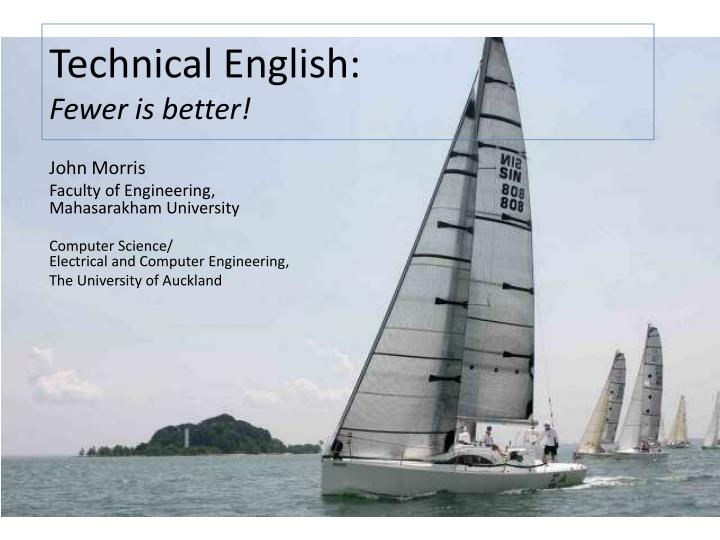 technical english fewer is better n.