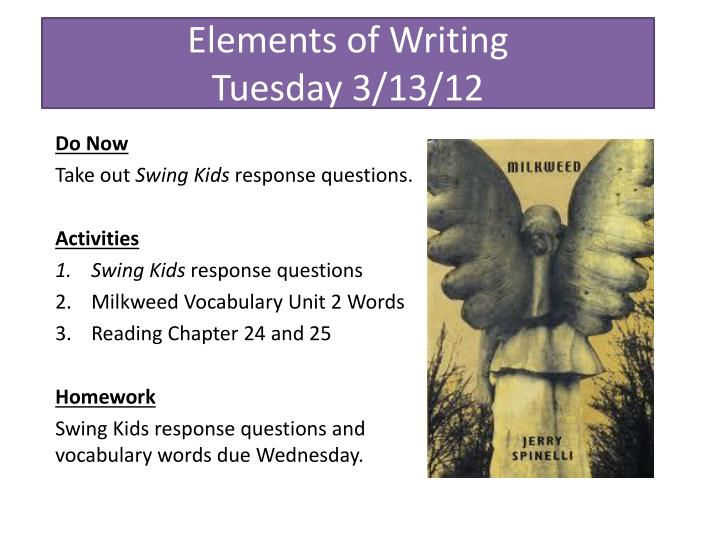 elements of writing tuesday 3 13 12 n.