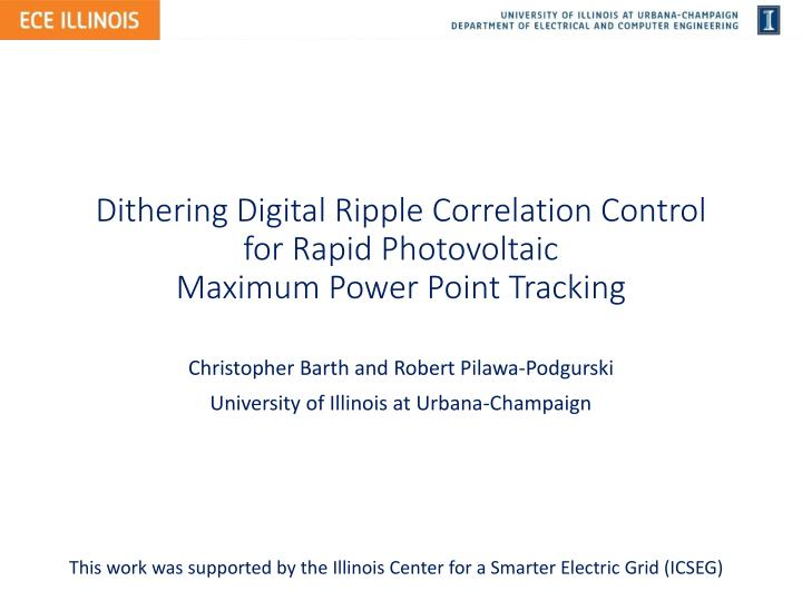 dithering digital ripple correlation control for rapid photovoltaic maximum power point tracking n.