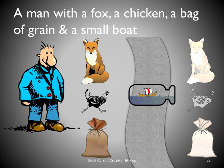A man with a fox, a chicken, a bag of grain & a small boat