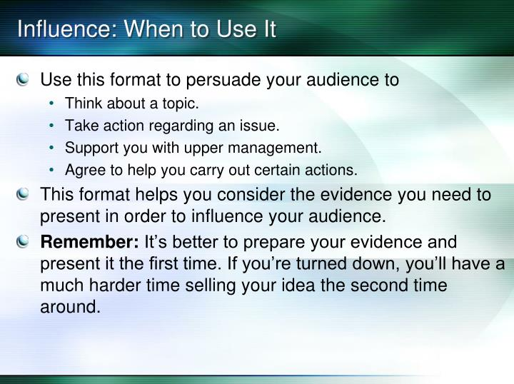 influence when to use it n.