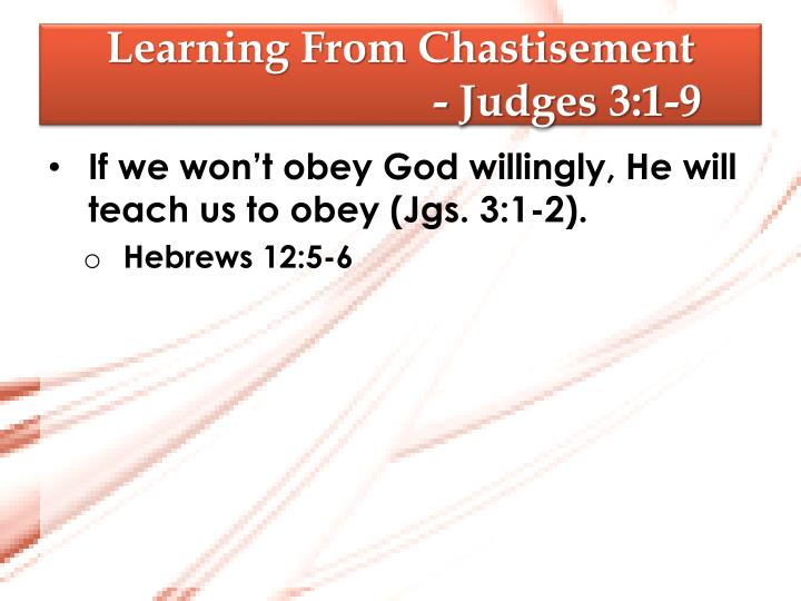 Learning from chastisement judges 3 1 9