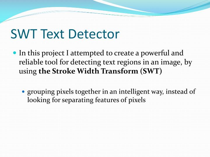 SWT Text Detector