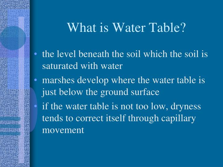 What is Water Table?