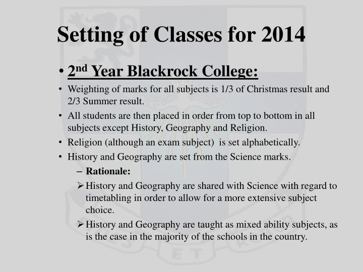 Setting of Classes for