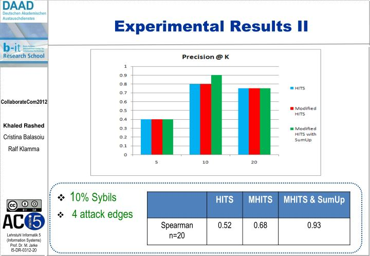 Experimental Results II