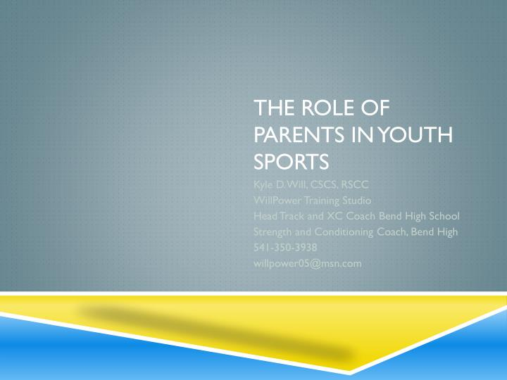 the role of parents in youth sports n.