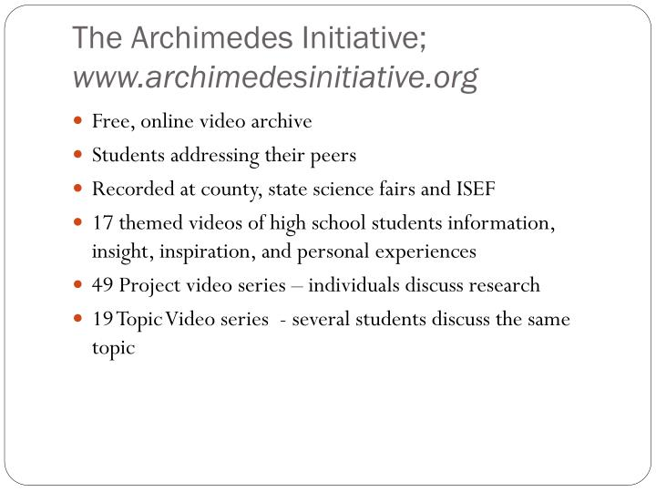 The Archimedes Initiative;