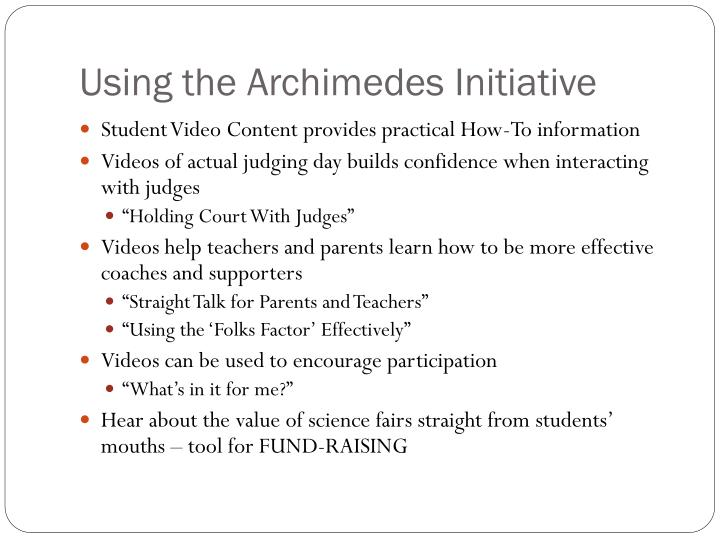 Using the Archimedes Initiative