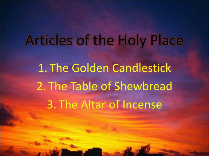 articles of the holy place n.