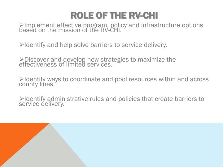 ROLE OF THE RV-CHI