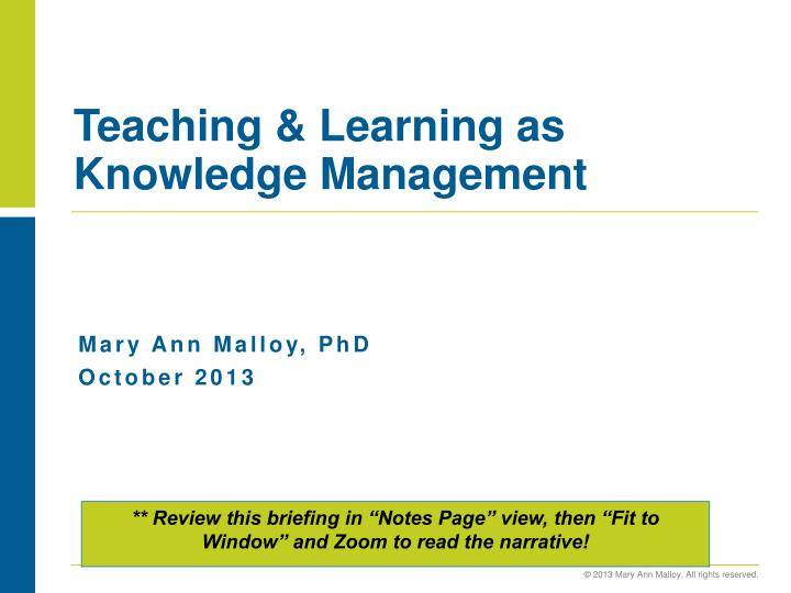teaching learning as knowledge management n.