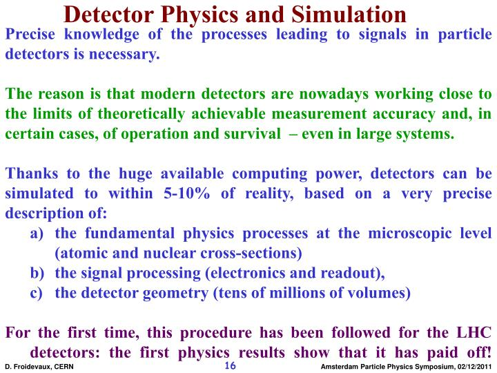 Detector Physics and Simulation