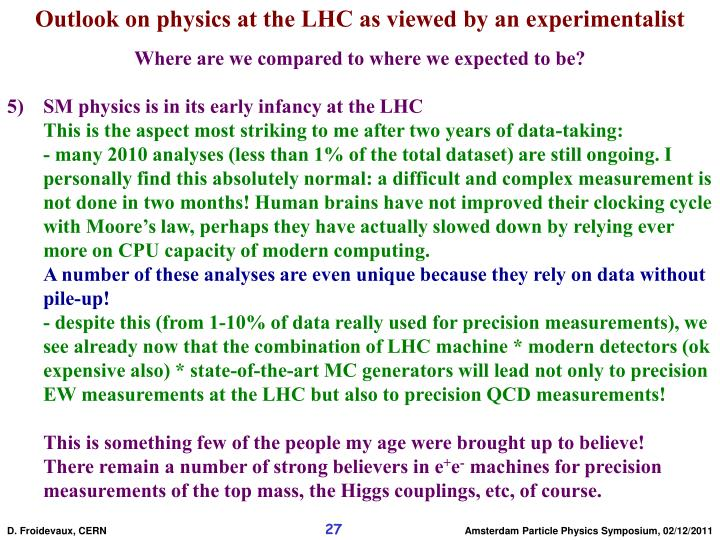 Outlook on physics at the