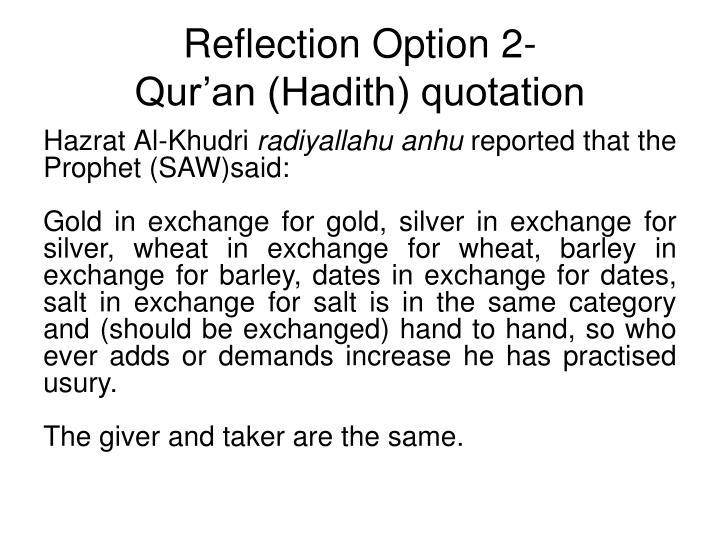 Reflection Option 2-