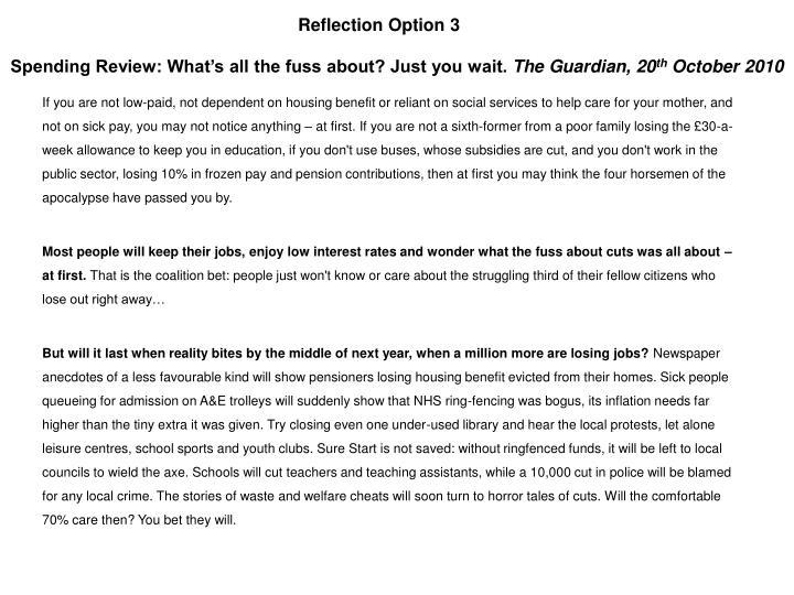 Reflection Option 3