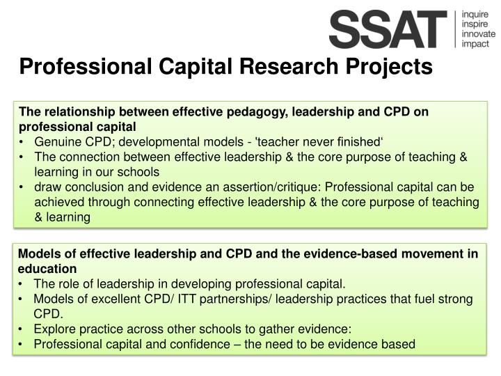 Professional Capital Research Projects