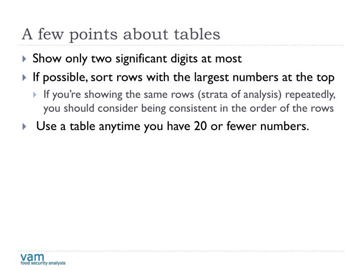 A few points about tables