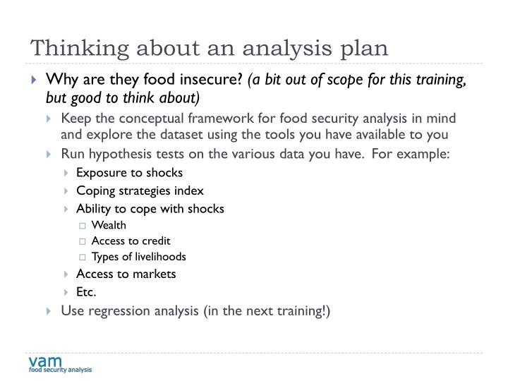 Thinking about an analysis plan