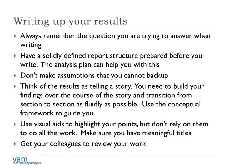Writing up your results