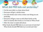 what did prr kids eat yesterday