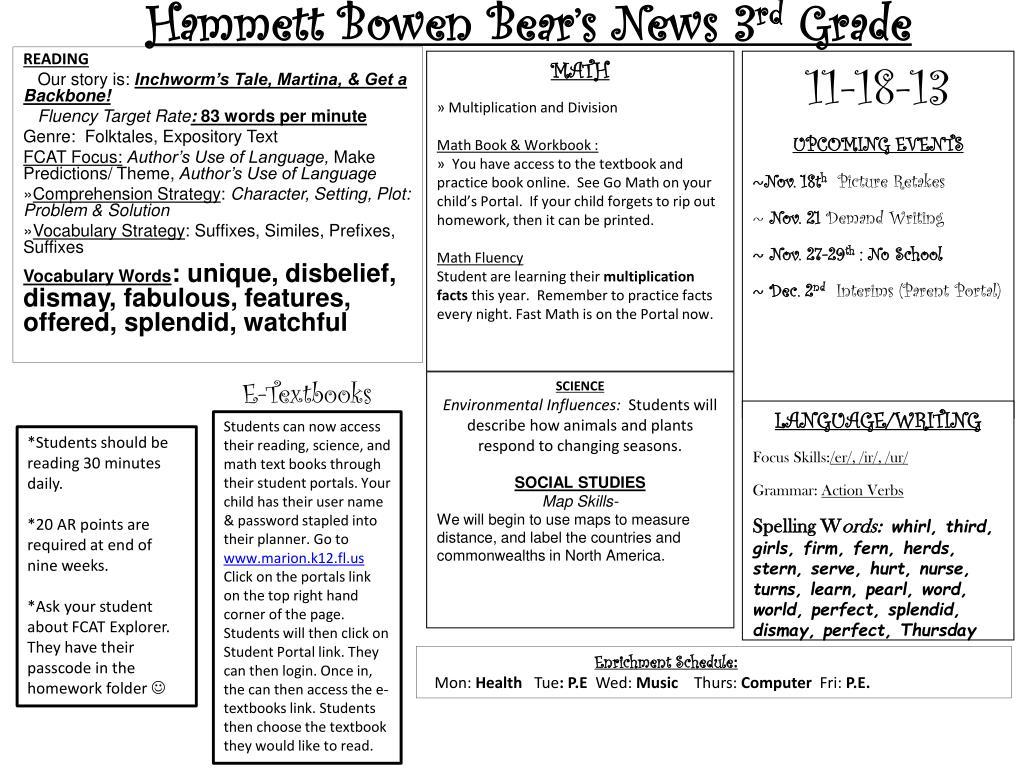 PPT - Hammett Bowen Bear's News 3 rd Grade PowerPoint