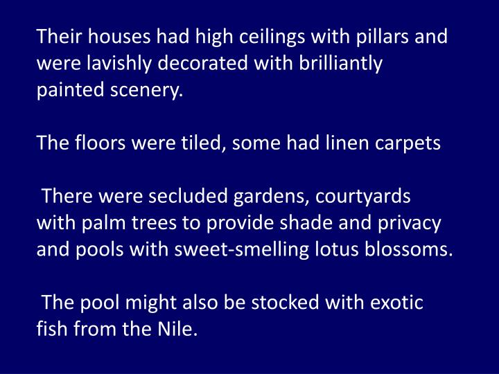 Their houses had high ceilings with pillars and were lavishly decorated with brilliantly painted scenery.