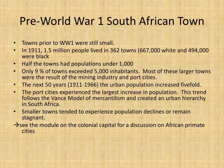 Pre-World War 1 South African Town