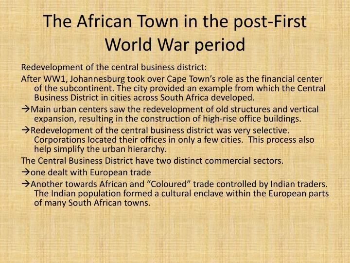 The African Town in the post-First World War period