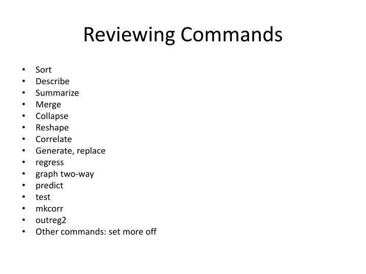 reviewing commands n.