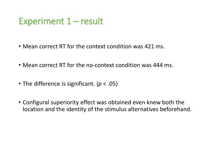 Experiment 1 – result
