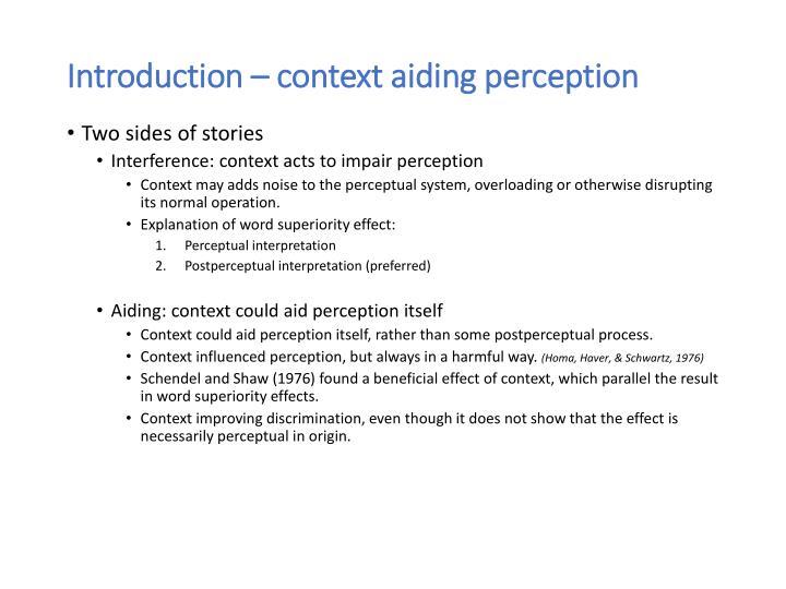 Introduction context aiding perception