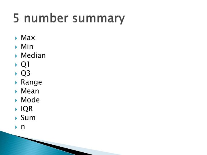 5 number summary