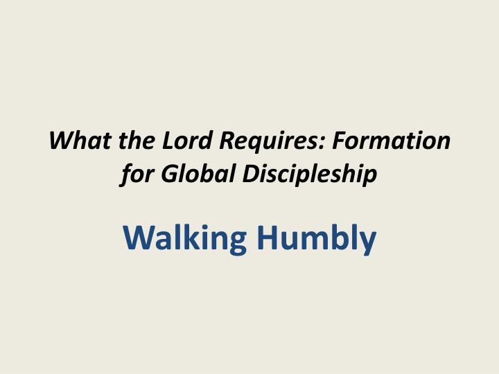 what the lord requires formation for global discipleship n.