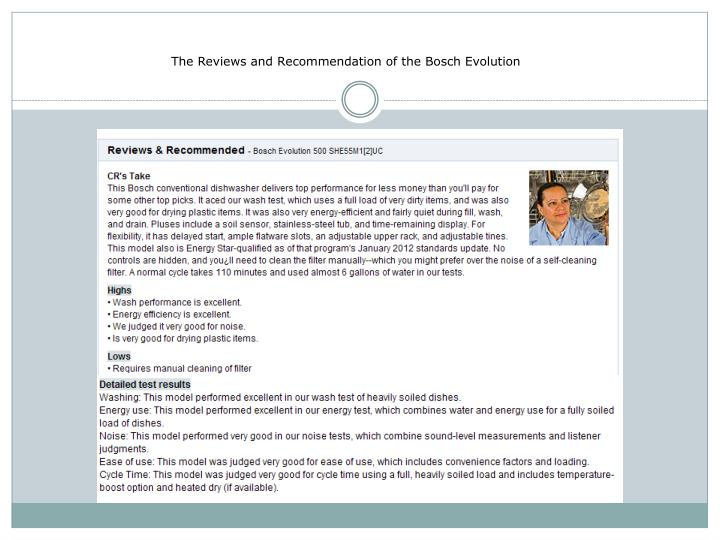 The Reviews and Recommendation of the Bosch Evolution