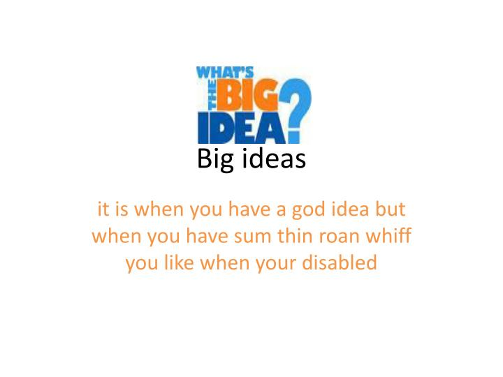 big ideas n.