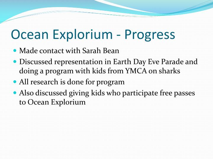 Ocean Explorium - Progress