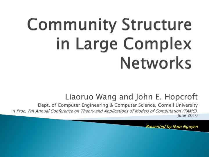 community structure in large complex networks n.