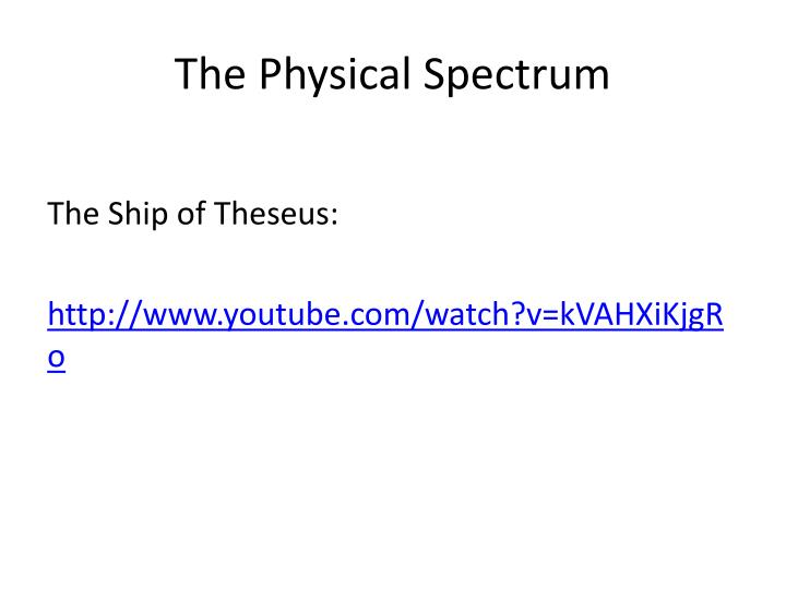 The Physical Spectrum