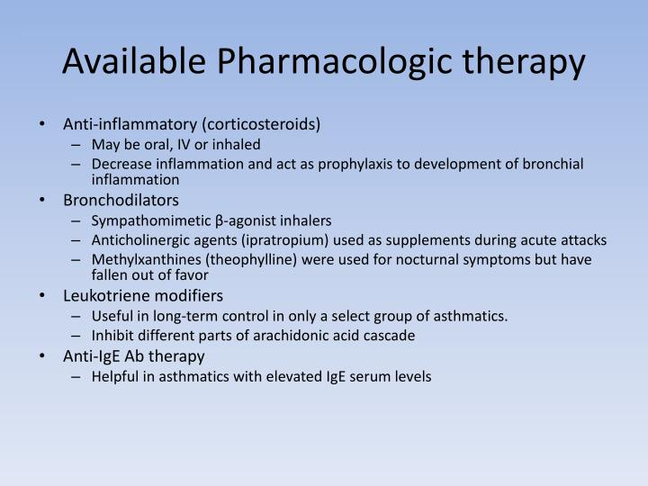 Available Pharmacologic therapy