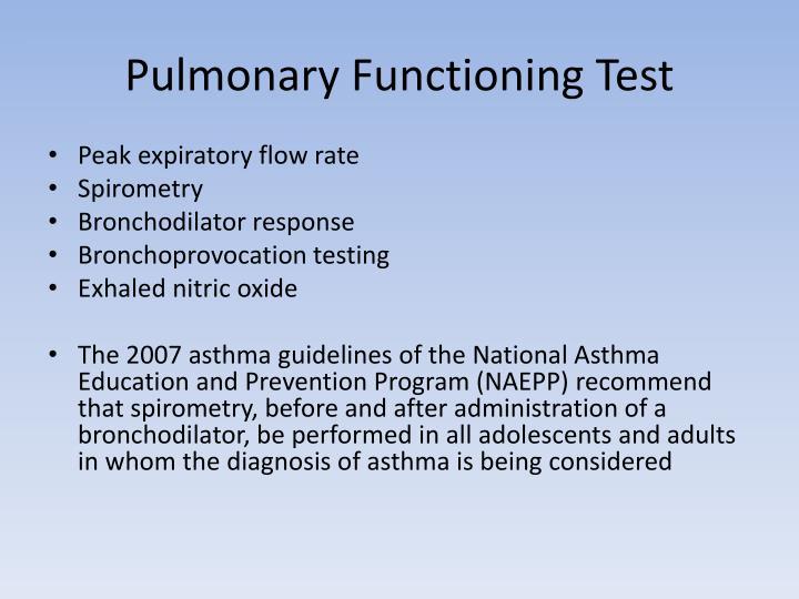 Pulmonary Functioning Test