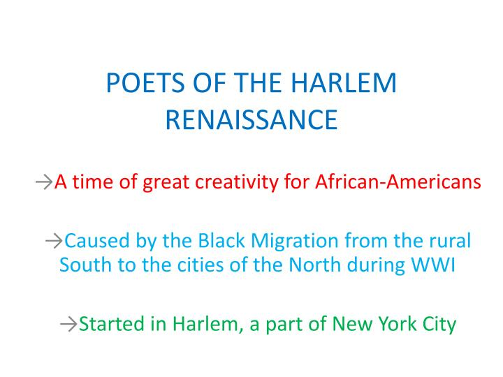 Poets of the harlem renaissance