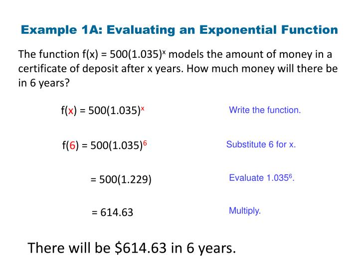 Example 1A: Evaluating an Exponential Function