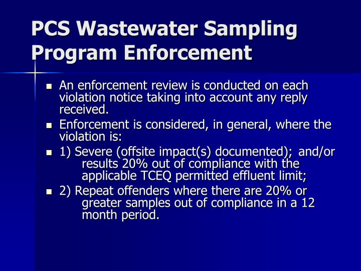 Pcs wastewater sampling program enforcement