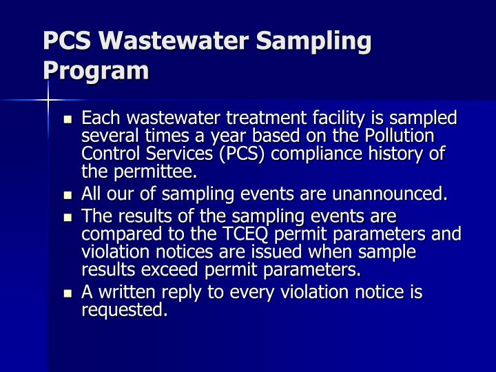 Pcs wastewater sampling program