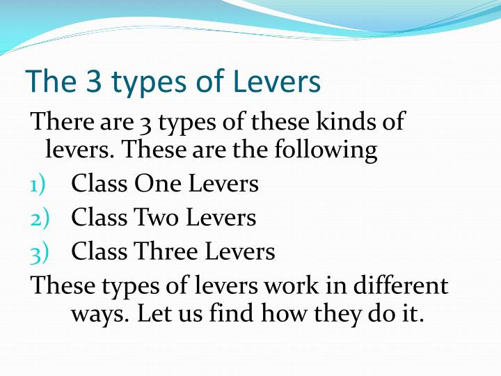 The 3 types of Levers