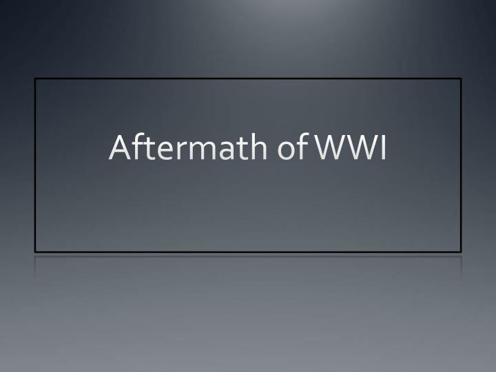 aftermath of wwi n.