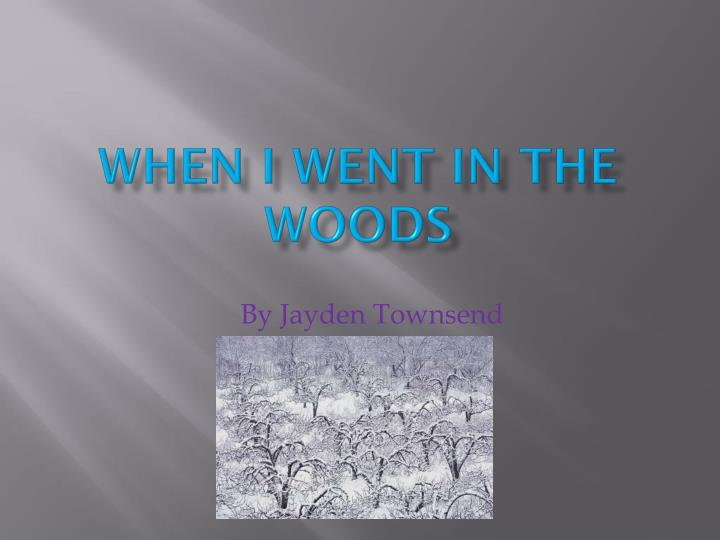 when i went in the woods n.
